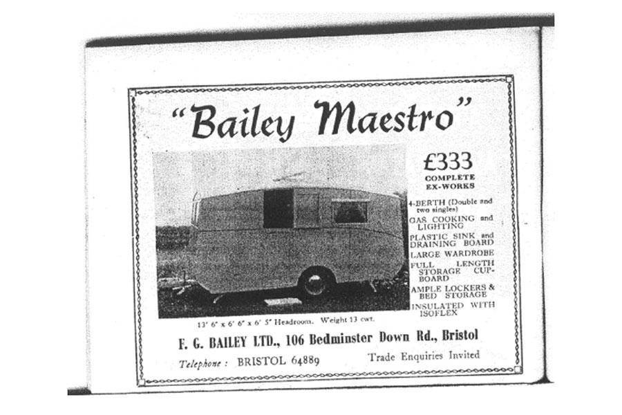 Объявление о продаже первого каравана Bailey Maestro